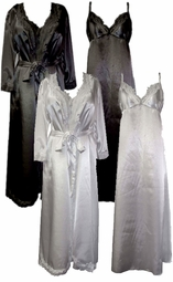 SOLD OUT! Wedding Night Lace Trim Black or Royal Blue Plus Size & Supersize Satin Robe and Nightgown Set