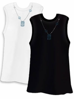 FINAL CLEARANCE SALE! PEACE! Pretty Shiny Sparkly Rhinestuds Peace Blue Neckline White Plus Size Tank Top 3x