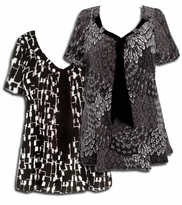 SOLD OUT! Yummy Plus Size Slinky Tie Shirts! Pretty Prints! Black Gray White Tie Neck Tops 5x
