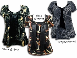 SOLD OUT! Yummy Plus Size Slinky Tie Tops! Pretty Prints! Black - Gray - Bronze with Neck Ties 5x
