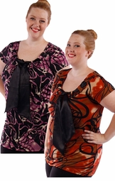 SALE! Yummy Plus Size Slinky Tie Tops! Pretty Prints! - Orange - Purple & Black with Neck Ties! 4x 5x 6x