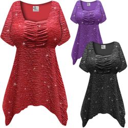 NEW! Customizable Plus Size Sparkling Red, Purple or Black Glitter Crinkle Slinky Babydoll Top 0x 1x 2x 3x 4x 5x 6x 7x 8x