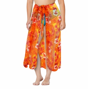 Customizable Orange Tropical Print Plus Size Sarong - Pareo Swimsuit Coverup - 1x 2x 3x 4x 5x 6x 7x 8x 9x