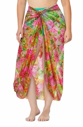 Plus Size Pink & Green Floral Print Lace Sarong - Pareo Swimsuit Coverup - 1x 2x 3x 4x 5x 6x 7x 8x 9x
