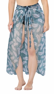 Plus Size Customizable Stretchy Sheer Leaf Print Sarong - Pareo Swimsuit Coverup - 1x 2x 3x 4x 5x 6x 7x 8x 9x