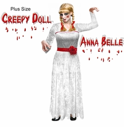 SCARY! Creepy Doll Anna Belle Plus Size Halloween Costume Sizes S-XL & Plus Size 1x 2x 3x 4x 5x 6x 7x 8x 9x