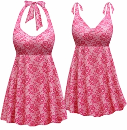SOLD OUT! NEW! Customizable Pink Lace Print Halter or Shoulder Strap 2pc Plus Size Swimsuit/SwimDress 0x 1x 2x 3x 4x 5x 6x 7x 8x 9x