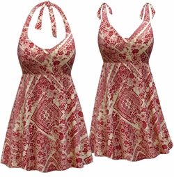 SALE! Customizable Plus Size Crimson & Tan Floral Print Halter or Shoulder Strap 2pc Swimsuit/SwimDress 0x 1x 2x 3x 4x 5x 6x 7x 8x 9x