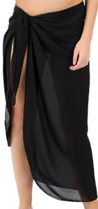 CLEARANCE! Sheer Black Plus Size Sarong - Plus Size Pareo Coverup 1x 4x 5x