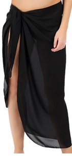 CLEARANCE! Sheer Black Plus Size Sarong - Plus Size Pareo Coverup 1x