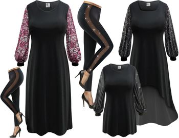 Sheer Sleeves Ensembles!<br>Yummy Slinkys or Velvet<br>Plus Size Dresses, Tops and Pants Lg to 9x