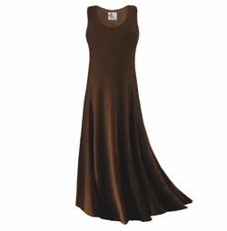 SALE! Simply Lovely Solid Dark Brown Plus Size Slinky Tank Dress 1x 2x 3x 4x 5x 6x 7x 8x 9x