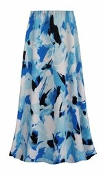 SALE! Customizable Plus Size Blue Flower Splash Slinky Print Skirts - Sizes Lg XL 1x 2x 3x 4x 5x 6x 7x 8x 9x