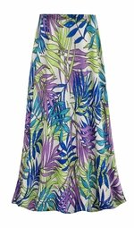 SOLD OUT! SALE! Customizable Plus Size Green Blue & Purple Leaves Slinky Print Skirts - Sizes Lg XL 1x 2x 3x 4x 5x 6x 7x 8x 9x