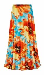 SALE! Customizable Plus Size Orange & Blue Floral Slinky Print Skirts - Sizes Lg XL 1x 2x 3x 4x 5x 6x 7x 8x 9x