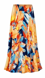 SALE! Customizable Plus Size Large Orange Blooms Slinky Print Skirts - Sizes Lg XL 1x 2x 3x 4x 5x 6x 7x 8x 9x
