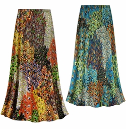 SALE! Customizable Plus Size Perfectly Peacock Slinky Print Skirts - Sizes Lg XL 1x 2x 3x 4x 5x 6x 7x 8x 9x