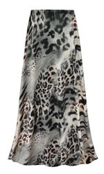 NEW! Customizable Plus Size Gray Animal Slinky Print Skirts - Sizes Lg XL 1x 2x 3x 4x 5x 6x 7x 8x 9x