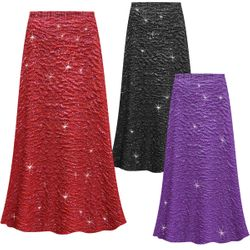 SALE! Customizable Plus Size Sparkling Red, Purple or Black Glitter Crinkle Slinky Print Skirts - Sizes Lg XL 1x 2x 3x 4x 5x 6x 7x 8x 9x