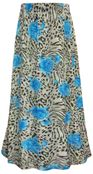 SALE! Plus Size Blue Roses Animal Print Maxi Slinky Skirt XL 1x 2x