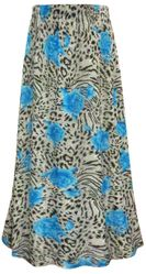 SALE! Plus Size Blue Roses Animal Print Maxi Slinky Skirt XL 1x 2x 3x