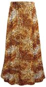 SALE! Plus Size Orange Animal Print Maxi Slinky Skirt 1x 2x 3x