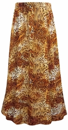 SALE! Plus Size Orange Animal Print Maxi Slinky Skirt  2x