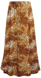 SALE! Plus Size Orange Animal Print Maxi Slinky Skirt 1x 3x