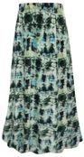 SALE! Plus Size Blue Green Abstract Print Maxi Slinky Skirt XL 1x 2x 3x