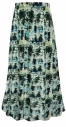 CLEARANCE! Plus Size Blue Green Abstract Print Maxi Slinky Skirt  2x