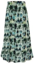 SALE! Plus Size Blue Green Abstract Print Maxi Slinky Skirt XL