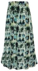 SALE! Plus Size Blue Green Abstract Print Maxi Slinky Skirt XL  2x 3x
