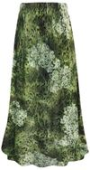 SOLD OUT! Plus Size Green Moss Print Maxi Slinky Skirt