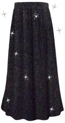 SALE! Plus Size Sparkling Black With Silver Glitter Print Maxi Slinky Skirt 2x