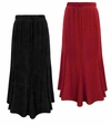 CLEARANCE! Plus Size Black or Red Slinky Maxi Panel Skirt 1x 2x