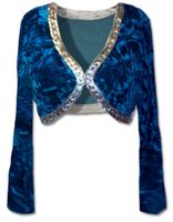 SOLD OUT! Beautiful Teal Crushed Velvet Bolero Jacket with Rhinestone Details 2XL