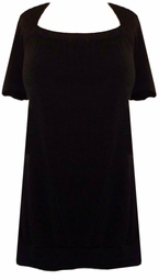 SOLD OUT!!!!Black Cotton/Lycra Short Sleeve Square Neck Gathered Bottom Plus Size Shirts 4x