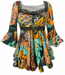 SOLD OUT!!!!!!!!!!!!Brown Gold & Aqua Foral Print Lace Trim Bell Sleeve Slinky Plus Size Shirts