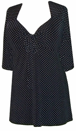 SOLD OUT! CLEARANCE! Black & White Dots Slinky Tie Babydoll Plus Size Supersize Shirts 0x 1x