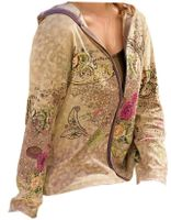 SOLD OUT!!!CLEARANCE! Stylish Plus-Size Beige or Lilac Screen Print Zip Up Jacket
