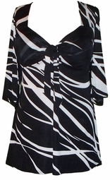 SOLD OUT! CLEARANCE! Tie Babydoll Shirt in Black & White Slinky Plus Size 0x/1x