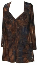SOLD OUT! CLEARANCE! Tie Babydoll Shirt in Bronze & Gold Slinky Plus Size XL