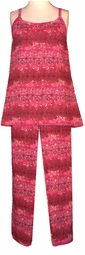 SOLD OUT! Cute Red & Gold  Flowery 2pc Plus Size & Supersize Top & Pant Lounge Set 2x 4x