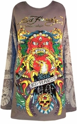 SOLD OUT!!!! Ed Hardy Rhinestone Gray Eagle All-Over Print Plus Size Long Sleeve T-Shirts by Christian Audigier 2x