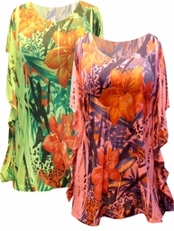 SOLD OUT! FINAL SALE! Hot Yellow or Coral Tropical Sublimation Floral Plus Size Jersey Caftan Style Tunic Top 4x 5x 6x