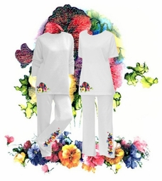 SOLD OUT!!! Floral Prints Glimmer Springtime Pansies Plus Size & Supersize 2 Piece White Blue or Rose Pantsets  4xp 5x 6xp