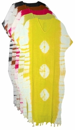 SOLD OUT! SALE! Hot Pink Pear Green or Banana Yellow TieDye Rayon Laced Plus Size & Supersize Caftan Dress 1x to 6x