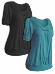 SOLD OUT!!!!!Just Reduced! SALE! Pretty Teal or Black Plus Size Bow Tops!