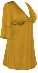 SOLD OUT!!!!!!Mustard Cotton Lycra Sexy Low-Cut Flutter Sleeve Top 4x