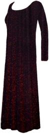 CLEARANCE!Pretty Black with Red Glimmer Slinky Plus Size Long Sleeve Dress XL 2x